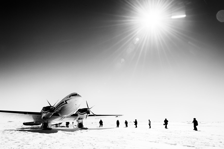 Through the lens: A Ken Borek Air DC-3T prepares to depart the ice of Gould Bay, Antarctica.